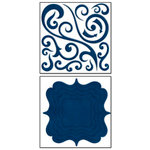 Bo Bunny Press - Chunky Charms Collection - Chipboard Stickers - Swirls and Brackets - Dark Denim, CLEARANCE