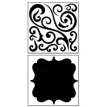 Bo Bunny Press - Chunky Charms Collection - Chipboard Stickers - Swirls and Brackets - Licorice, CLEARANCE