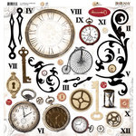 Bo Bunny Press - Timepiece Collection - 12 x 12 Chipboard Stickers - Timepiece