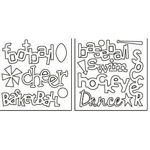 Bo Bunny Press - Bleached Bare Naked Chipboard - Go Team - Sports - Baseball - Football - Cheer - Basketball - Swim - Hockey - Dance - Soccer, CLEARANCE