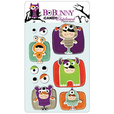 Bo Bunny Press - Whoo-ligans Collection - Halloween - I Candy Chipboard - Layered Stickers with Glitter Accents, CLEARANCE