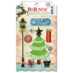 Bo Bunny - Blitzen Collection - Christmas - 3 Dimensional Stickers with Glitter and Jewel Accents