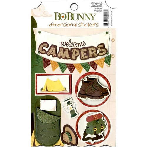 Bo Bunny - Camp-A-Lot Collection - 3 Dimensional Stickers with Glitter and Jewel Accents