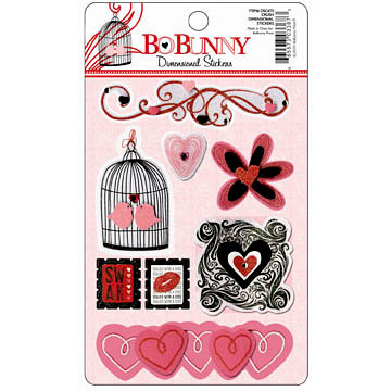Bo Bunny - Crush Collection - Valentine - Layered Stickers with Glitter and Jewel Accents