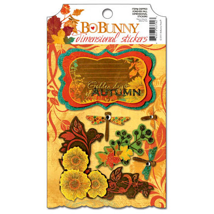 Bo Bunny - Forever Fall Collection - 3 Dimensional Stickers with Glitter and Jewel Accents