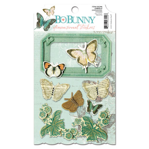 Bo Bunny - Gabrielle Collection - 3 Dimensional Stickers with Glitter and Jewel Accents