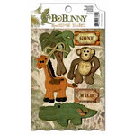 Bo Bunny Press - Zoology Collection - 3 Dimensional Stickers with Glitter and Jewel Accents