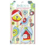 Bo Bunny - Alora Collection - Layered Chipboard Stickers with Glitter and Jewel Accents