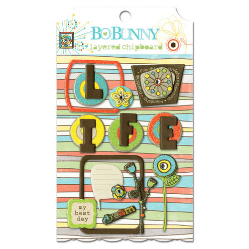 Bo Bunny - Ad Lib Collection - Layered Chipboard Stickers with Glitter and Jewel Accents