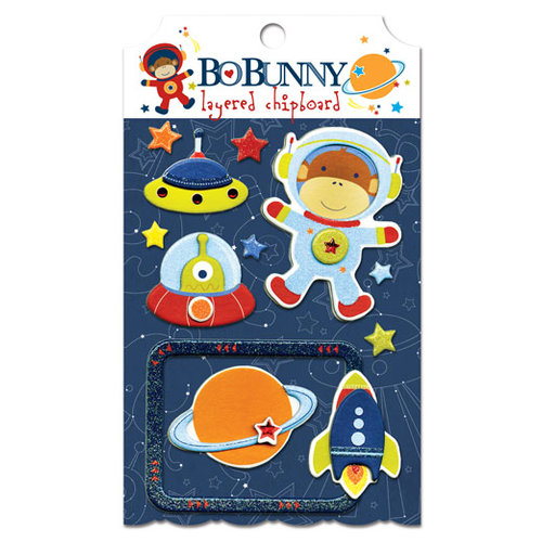 Bo Bunny - Blast Off Collection - Layered Chipboard Stickers with Glitter and Jewel Accents