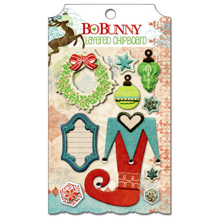 Bo Bunny - Blitzen Collection - Christmas - Layered Chipboard Stickers with Glitter and Jewel Accents