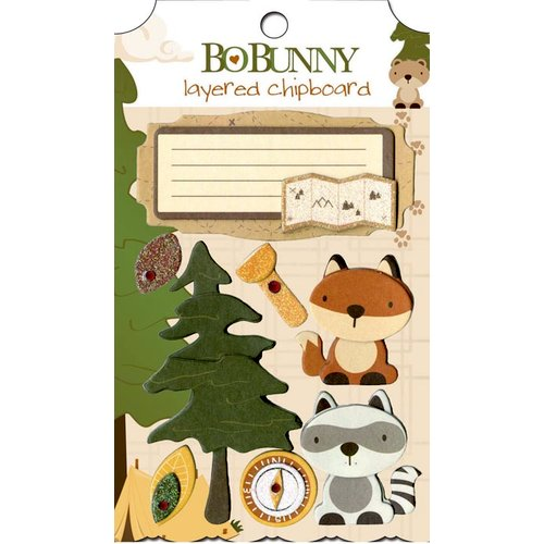 Bo Bunny - Camp-A-Lot Collection - Layered Chipboard Stickers with Glitter and Jewel Accents
