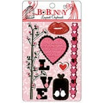 Bo Bunny - Crush Collection - Valentine - Layered Chipboard Stickers with Glitter and Jewel Accents