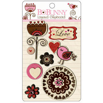 Bo Bunny Press - Crazy Love Collection - Valentine - Layered Chipboard Stickers with Glitter and Jewel Accents