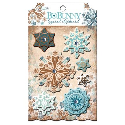 Bo Bunny Press - Snowfall Collection - Layered Chipboard Stickers with Jewel Accents