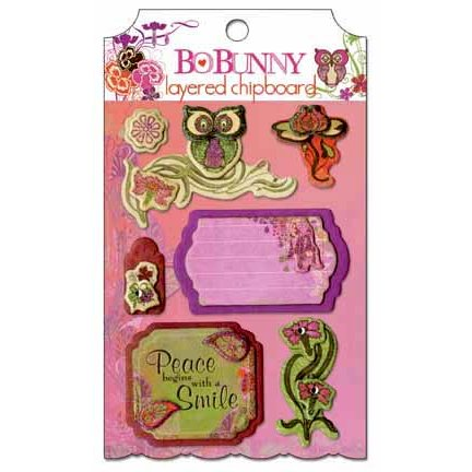 Bo Bunny - Garden Girl Collection - Layered Chipboard Stickers with Glitter and Jewel Accents