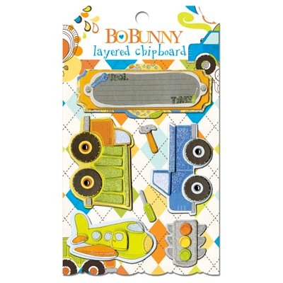 Bo Bunny - On The Go Collection - Layered Chipboard Stickers with Glitter and Jewel Accents