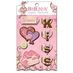 Bo Bunny Press - Smoochable Collection - Layered Chipboard Stickers with Glitter and Jewel Accents