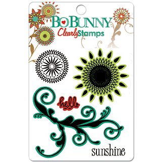 Bo Bunny Press - Flower Child Collection - Clear Acrylic Stamps - Flower Child, CLEARANCE