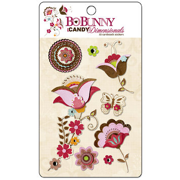 Bo Bunny Press - Sophie Collection - I Candy 3 Dimensionals - Cardstock Stickers with Glitter and Jewel Accents, BRAND NEW