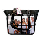 Braggables - Micro and Wet Croco Collection - 4 Window Shoulder Bag - Black