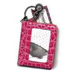 Braggables - Wet Croco Collection - Photo Card Case and Key Ring - Pink
