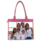 Braggables - Micro and Wet Croco Collection - 9 Window Large Tote - Pink