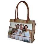 Braggables - Micro and Wet Croco Collection - 9 Window Large Tote - Khaki