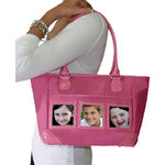 Braggables - Micro and Wet Croco Collection - 3 Window Medium Tote - Pink