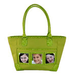 Braggables - Micro and Wet Croco Collection - 3 Window Medium Tote - Kiwi, CLEARANCE