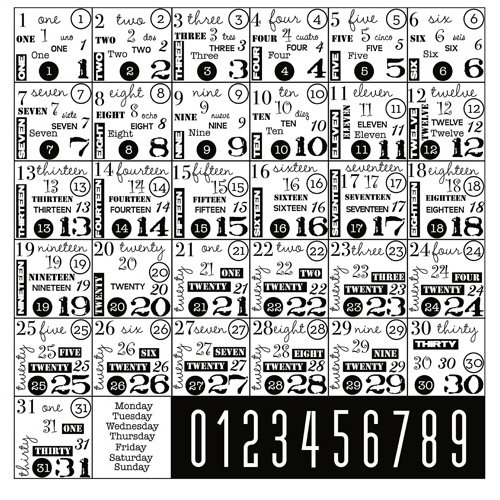 Canvas Corp - Black and White Collection - 12 x 12 Paper - Boxes of Numbers