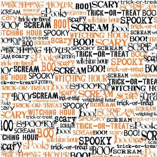 Canvas Corp - Halloween - 12 x 12 Paper - Spooky Words on White