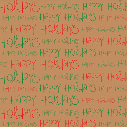 Canvas Corp - Seasonal Collection - 12 x 12 Kraft Paper - Happy Holidays