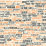 Canvas Corp - Halloween - 12 x 12 Paper - Spooky Words on Ivory