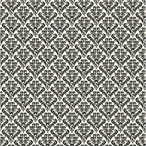 Canvas Corp - Black and Ivory Collection - 12 x 12 Paper - Damask
