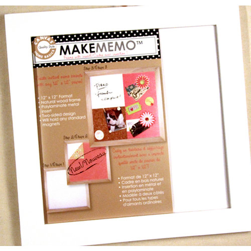 Canvas Corp - MakeMemo Collection - Wooden Frame with Metal Board - White - 12 x 12