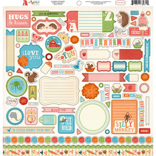 Carta Bella Paper - Alphabet Junction Collection - 12 x 12 Cardstock Stickers - Elements