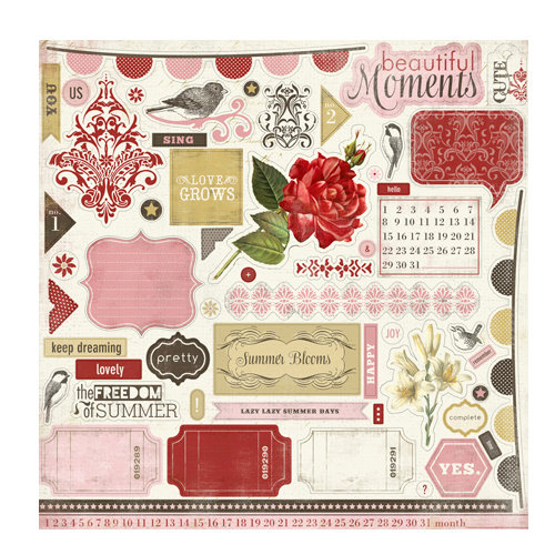Carta Bella Paper - Beautiful Moments Collection - 12 x 12 Cardstock Stickers - Elements