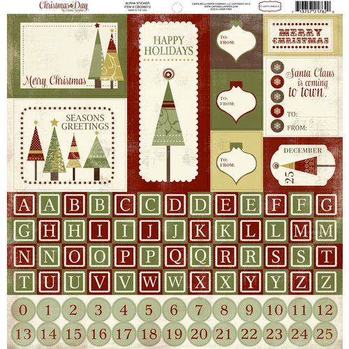 Carta Bella Paper - Christmas Day Collection - 12 x 12 Cardstock Stickers - Alphabet