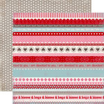 Carta Bella Paper - Devoted Collection - 12 x 12 Double Sided Paper - Hugs and Kisses Borders