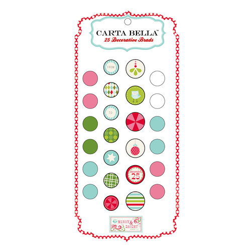 Carta Bella Paper - Merry and Bright Collection - Christmas - Brads