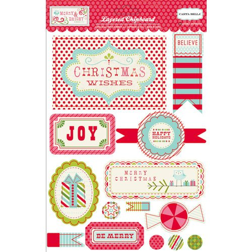 Carta Bella Paper - Merry and Bright Collection - Christmas - Layered Chipboard Stickers