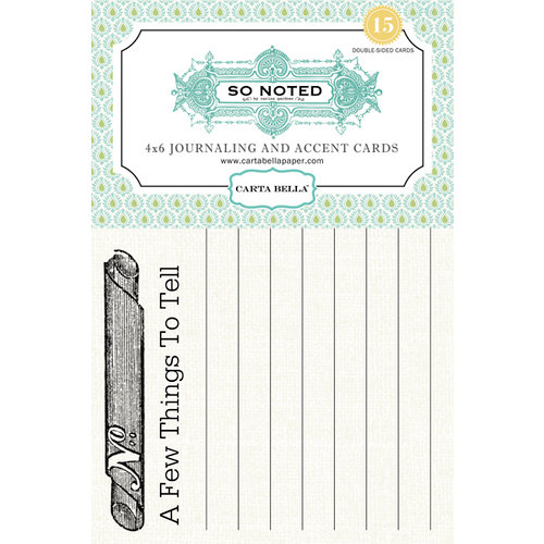 Carta Bella Paper - So Noted Collection - 4 x 6 Journaling and Accent Cards