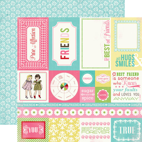 Carta Bella Paper - True Friends Collection - 12 x 12 Double Sided Paper - Forever Friends Cards