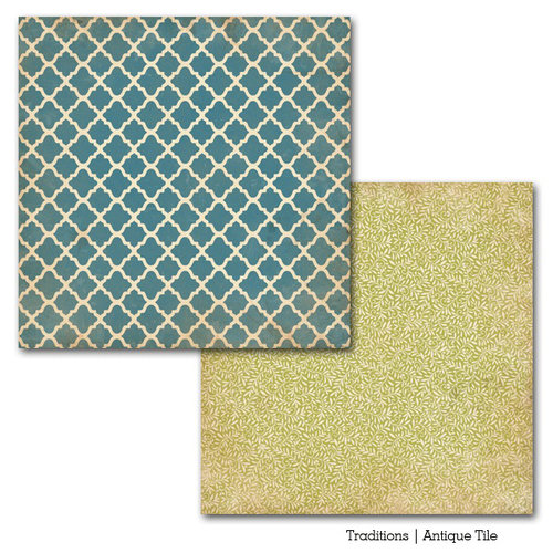 Carta Bella Paper - Traditions Collection - 12 x 12 Double Sided Paper - Antique Tile
