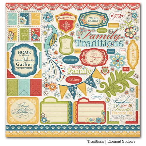 Carta Bella Paper - Traditions Collection - 12 x 12 Cardstock Stickers - Elements