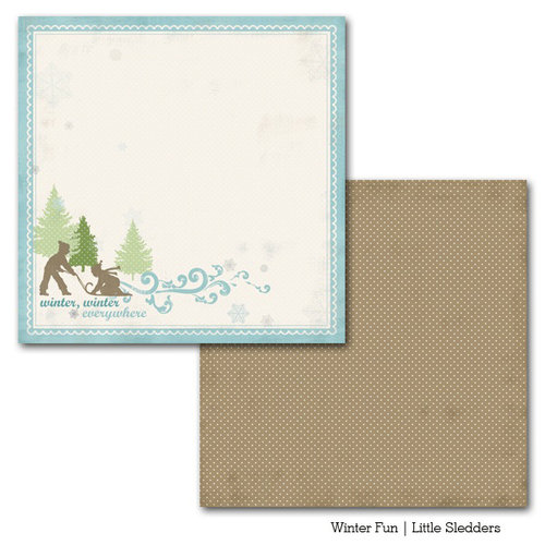 Carta Bella Paper - Winter Fun Collection - 12 x 12 Double Sided Paper - Little Sledders
