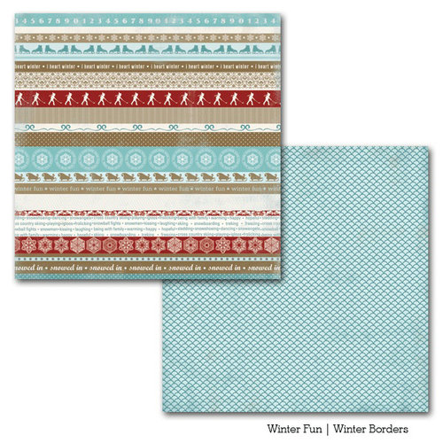 Carta Bella Paper - Winter Fun Collection - 12 x 12 Double Sided Paper - Winter Borders