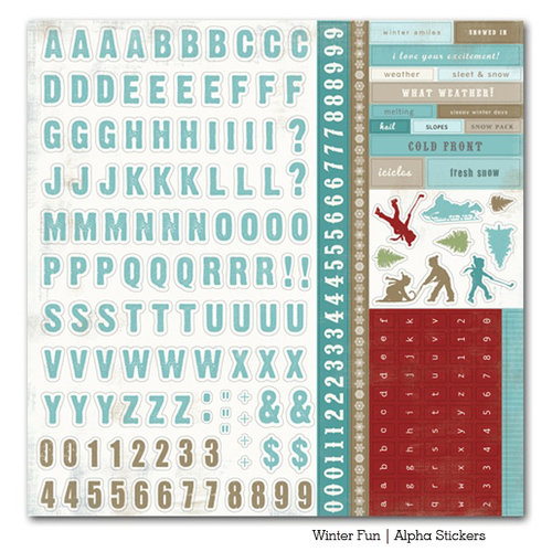 Carta Bella Paper - Winter Fun Collection - 12 x 12 Cardstock Stickers - Alphabet