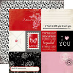 Carta Bella Paper - Words of Love Collection - 12 x 12 Double Sided Paper - Journaling Cards